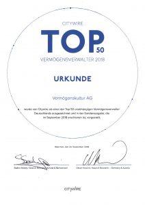 Citywire Top 50 Vermögensverwalter 2018.