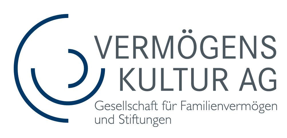 Das Logo der Vermögenskultur AG ist eine stilisierte Baumscheibe in Blau.